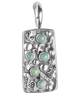 by Carolyn Pollack Green Turquoise Gemstone Petroglyph Pendant Enhancer in Sterling Silver