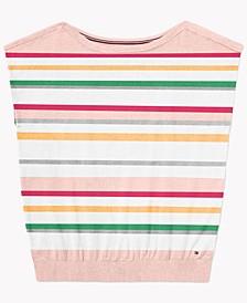 Women's Jocelyn Striped Sweater With Wide Neck Opening