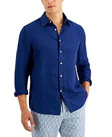 Men's Regular-Fit Glen Plaid Linen Shirt, Created for Macy's