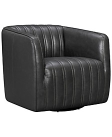 Aries Genuine Leather Swivel Barrel Chair