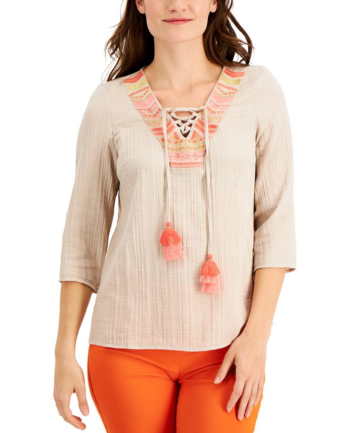 JM Collection Embroidered Top