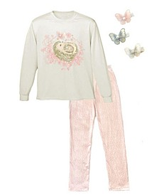 Little and Big Girls Interchangeable 3D Butterfly and Hedgehog Graphic Pajama Set, 5 Piece