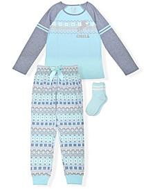 Big Girls Fairisle Print 3 Piece Pajama Set with Cozy Socks