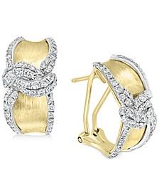 EFFY® Diamond Swirl Hoop Earrings (1-1/10 ct. t.w.) in 14k Gold & White Gold