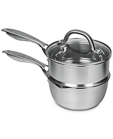Pro Stainless Steel 2-Qt. Double Boiler with Glass Lid