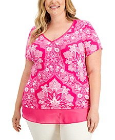 Plus Size Mirage Tones Printed Layered-Look Top, Created for Macy's