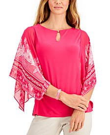 Petite Printed Flutter-Sleeve Keyhole Top, Created for Macy's