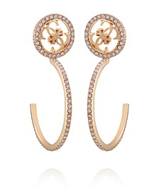 Gold-tone And Crystal Quatro G C Hoop Earring