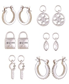 Silver-tone And Crystal Interchangeable Hoop Set With Logo And Crystal Charms
