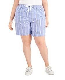 Plus Size Striped Pull-On Seersucker Shorts, Created for Macy's
