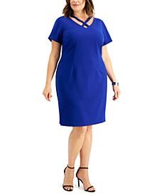 Plus Size Cross-Front Sheath Dress