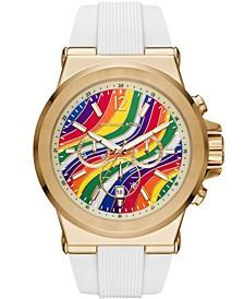 Men's Dylan White Silicone Strap Watch 48mm