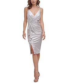 Metallic Waterfall-Ruffle Dress