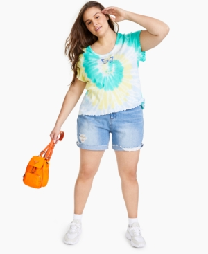 Trendy Plus Size Graphic Tie-Dyed T-Shirt