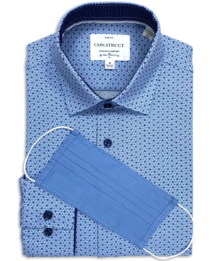 Con. Struct Men's Slim-Fit Performance Stretch Interlocked Geo Print Dress Shirt