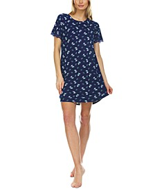Lace-Trim Ribbed Sleep Shirt Nightgown