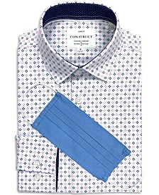 Con.Struct Men's Slim-Fit Performance Stretch Quad Diamond Print Dress Shirt and Free Face Mask, Created for Macy's