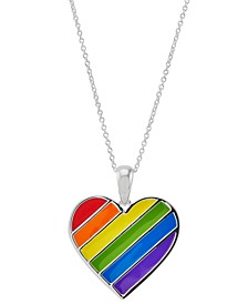 """Pride Rainbow Heart 16"""" + 2"""" extender Pendant Necklace in Sterling Silver"""