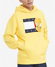 Tommy Hilfiger Men's Space Jam: A New Legacy x Tommy Jeans Looney Tunes Flag Popover Hoodie