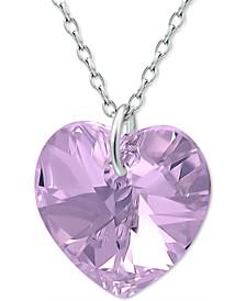 "Swarovski Heart Crystal 18"" Pendant Necklace in Sterling Silver"