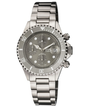 Men's Wall Street Swiss Automatic Chronograph Silver-Tone Stainless Steel Bracelet Watch 43mm