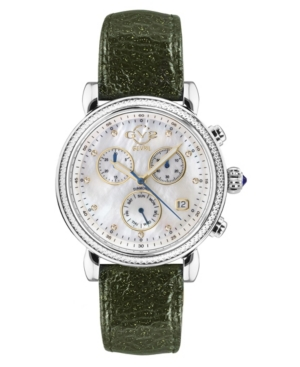 Women's Marsala Sparkle Swiss Quartz Chronograph Green Sparkle Italian Leather Strap Watch 37mm