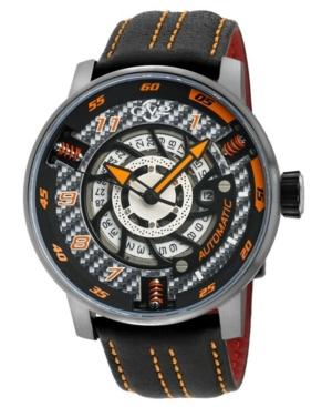 Men's Motorcycle Swiss Automatic Black Italian Leather Strap Watch 48mm