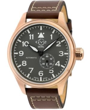 Men's Aeronautica Swiss Automatic Brown Leather Strap Watch 42mm
