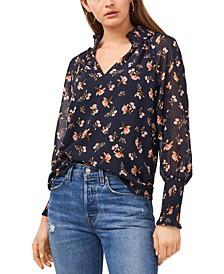 Floral-Print Smocked-Neck Raglan Top
