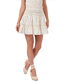 Cotton Floral-Print Smocked Eyelet Tiered Skirt