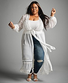 Trendy Plus Size Eyelet Duster, Created for Macy's