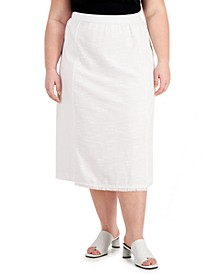 Plus Size Fringe-Trimmed Mixed-Media Midi Skirt, Created for Macy's