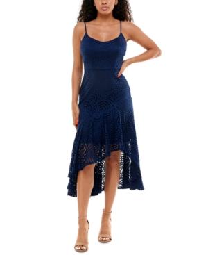 Juniors' Asymmetrical Lace Midi Dress