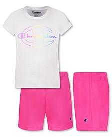 """Little Girls Ombre Big """"C"""" Script Tee and Shorts Set"""