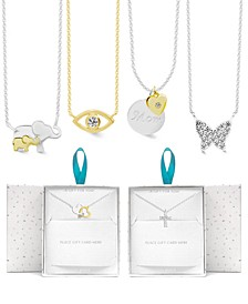 """Fine Silver Plate or Gold Plate Necklace in Gift Card Box, 16+2"""" extender"""