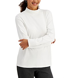 Petite Solid Mock-Neck Top, Created for Macy's