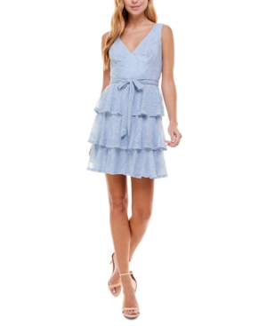 Juniors' Tiered Lace Fit & Flare Dress