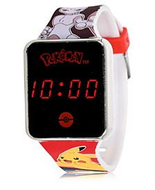 Pokemon Kid's Touch Screen Red Silicone Strap LED Watch, 36mm x 33 mm