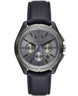 AX ARMANI EXCHANGE AX ARMANI EXCHANGE MEN'S CHRONOGRAPH BLUE LEATHER STRAP WATCH 43MM