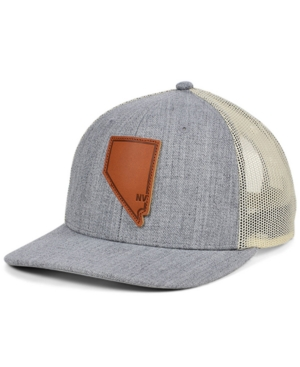 Local Crowns Nevada Heather Leather State Patch Curved Trucker Cap