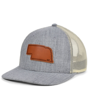 Local Crowns Nebraska Heather Leather State Patch Curved Trucker Cap