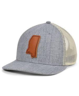 Local Crowns Mississippi Heather Leather State Patch Curved Trucker Cap