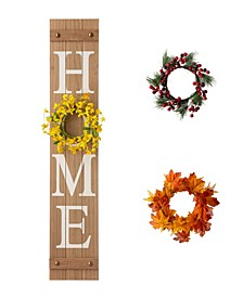 """42""""H Wooden Home Porch Sign with Changable wreathes(Spring/ Fall/ Christmas)"""