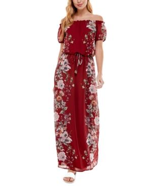 Juniors' Off-The-Shoulder Maxi Dress
