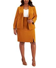 Plus Size Collar-Less Crepe Skirt Suit