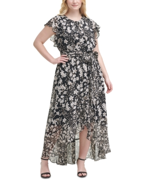 Plus Size Printed Belted Dress
