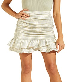 Larison Gingham-Print Ruffled Mini Skirt