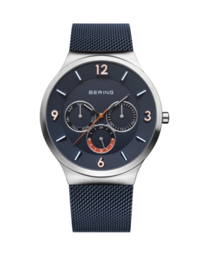 Men's Classic Blue Stainless Steel Mesh Strap Watch 40mm