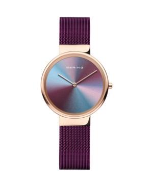 Women's Anniversary Purple Stainless Steel Mesh Strap Watch 31mm