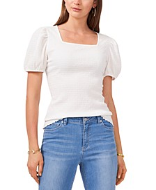 Puff-Sleeve Textured Knit Top